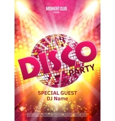 Disco party poster background party with vector
