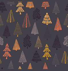 doodle autumn trees seamless background vector image