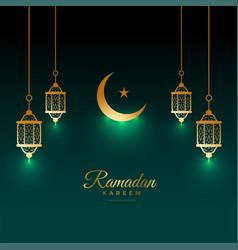 eid ramadan kareem shiny card with lamp and moon vector image