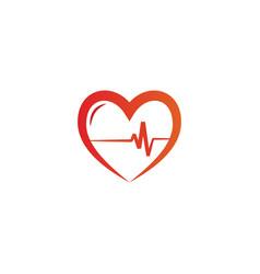 Elegant heart and ekg outline logo design template vector