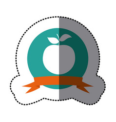emblem apple fruit icon vector image