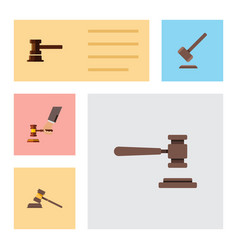 flat icon court set of court tribunal government vector image