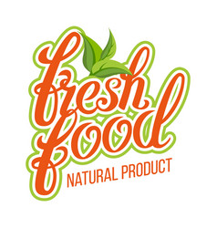 fresh food organic natural product design vector image