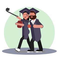 Girl making selfie after graduation vector