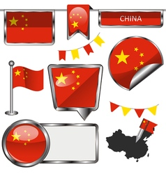 Glossy icons with Chinese flag vector