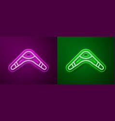 Glowing neon line boomerang icon isolated on vector