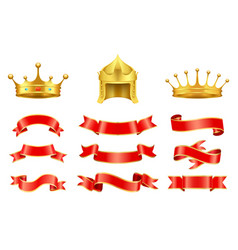 Gold crown with jewel helmet and red ribbons set vector