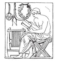 Greek folding-chair lightweight vintage engraving vector
