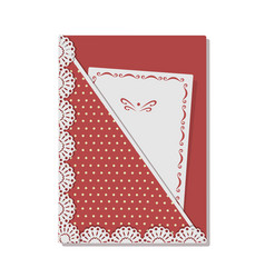 Greeting card decorated with lace and stitch on vector