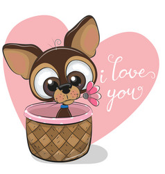 greeting card puppy with flower on a heart vector image