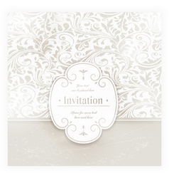 Grungy floral card with label vector