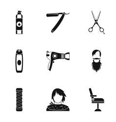 Hair cut icons set simple style vector