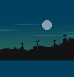 Halloween landscape with grave and moon vector