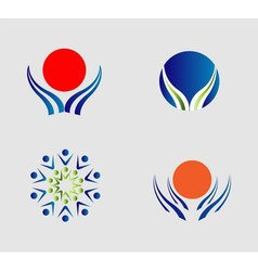 Hand and sun logo people group icon sign vector image