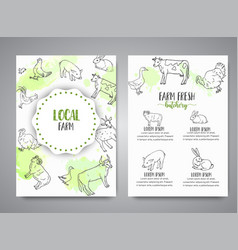 hand drawn farm animals brochure local farm card vector image