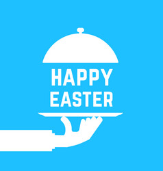 happy easter text like white serving hand vector image