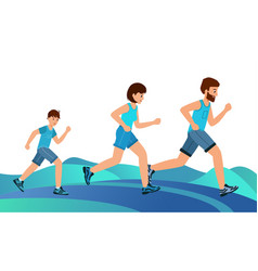 happy family on a jogging father mother and son vector image