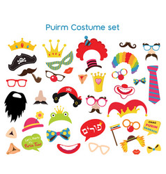 Happy purim party set - photobooth props with vector