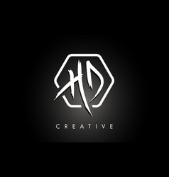 Hd h d brushed letter logo design with creative vector