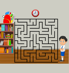 Help the boy to find his backpack maze game vector