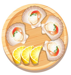 Isolated scallop on wooden plate vector