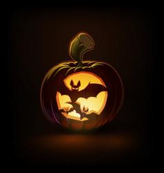 Jack-o-lantern dark spooky bats vector