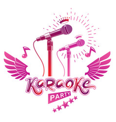 Karaoke party promotion poster design composed vector