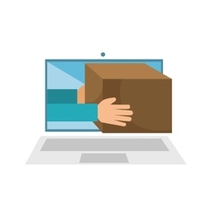 Laptop computer with carton box isolated icon vector
