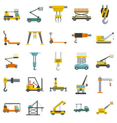 lifting machine icons set isolated vector image