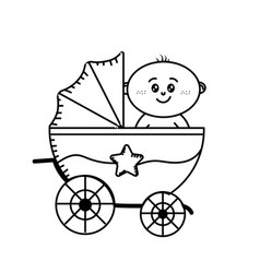 Line security stroller with baby child inside vector