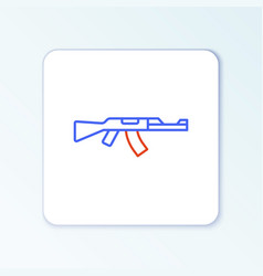 Line submachine gun icon isolated on white vector
