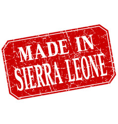 made in sierra leone red square grunge stamp vector image
