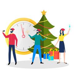 man and woman celebrating xmas holiday vector image