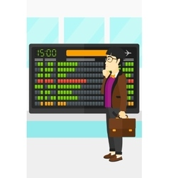Man looking at schedule board vector