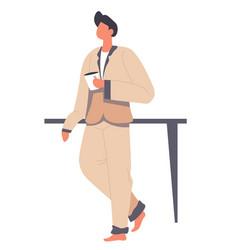 man wearing pajama drinking coffee in morning vector image