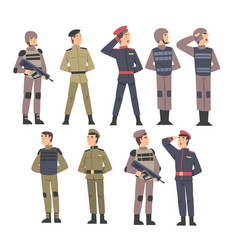 military people set army soldiers characters vector image