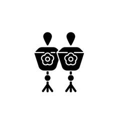 Mini sky lanterns black glyph icon vector