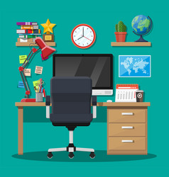 Modern creative office or home workspace vector