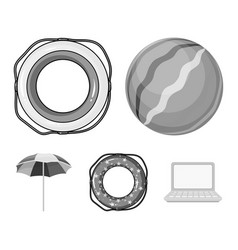 Multicolored swimming circle monochrome icons in vector