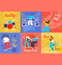 musicians at work flat concepts collection vector image