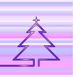 neon christmas tree made one continuous line vector image