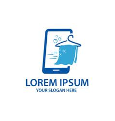 Online laundry logo vector