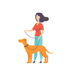 Owner keeping dog on leash at show exhibition vector