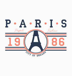 Paris typography for t-shirt with slogan vector