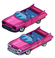 Pink classic convertible cabriolet with open roof vector image
