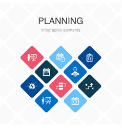 Planning infographic 10 option color design vector