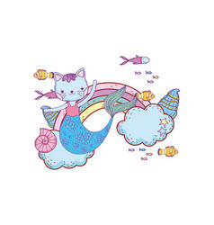 Purrmaid with clouds and rainbow undersea vector