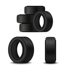 realistic 3d detailed car tires set vector image