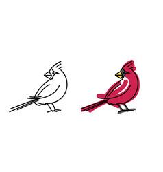red cardinal small bird portrait vector image