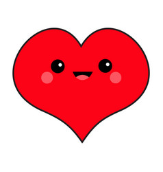 red heart face head cute cartoon kawaii funny vector image